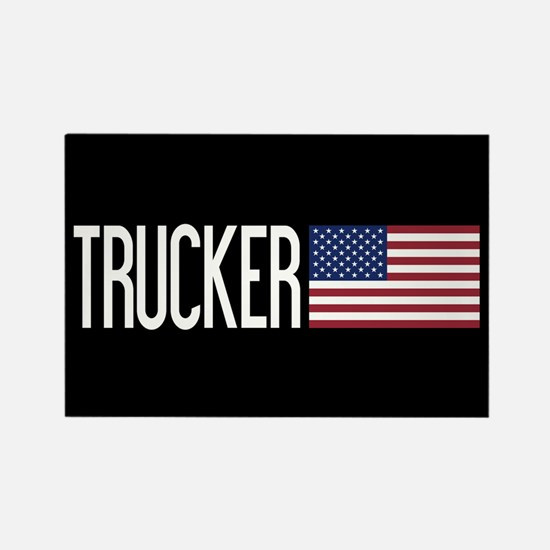 Trucker: Trucker & American Flag Rectangle Magnet
