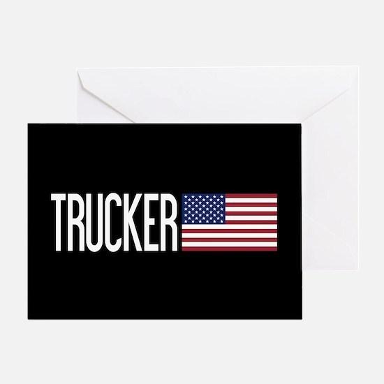 Trucker: Trucker & American Flag Greeting Card