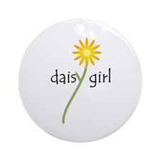 Yellow Daisy Girl Ornament (Round)