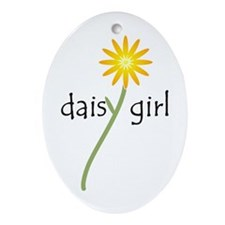 Yellow Daisy Girl Oval Ornament