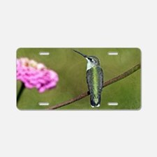 Hummingbird and Zinnia Aluminum License Plate