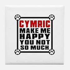 Cymric Cat Make Me Happy Tile Coaster