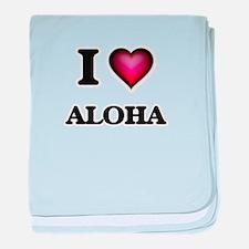 I Love Aloha baby blanket