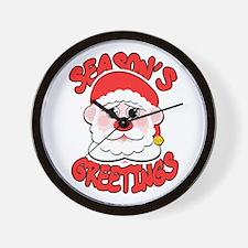 Season's Greetings Santa Wall Clock