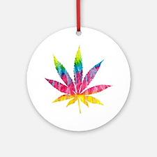 Tie Dye Cannabis Leaf Round Ornament
