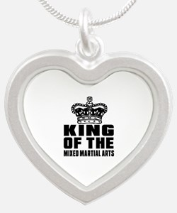King Of The Mixed Martial Ar Silver Heart Necklace