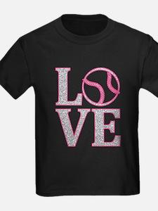 LOVE SOFTBALL/BASEBALL GLITTER PINK T-Shirt
