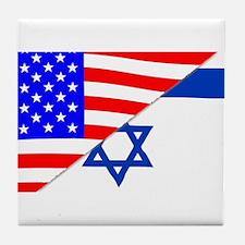 USA and Jewish Flags Tile Coaster