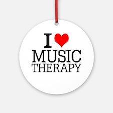 I Love Music Therapy Round Ornament