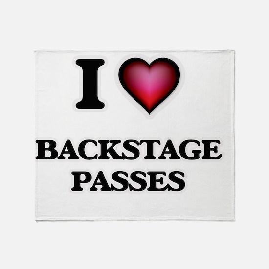 I Love Backstage Passes Throw Blanket