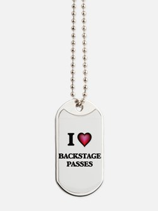 I Love Backstage Passes Dog Tags