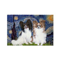 Starry / 2 Papillons Rectangle Magnet (10 pack)