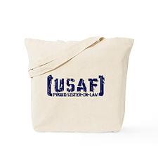 Proud USAF SisNlaw- Tatterd Style Tote Bag