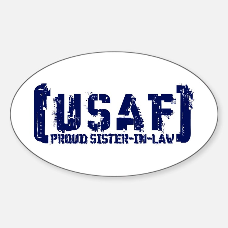 Proud USAF SisNlaw- Tatterd Style Oval Decal
