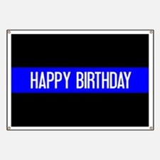 Police: Happy Birthday (The Thin Blue Line) Banner