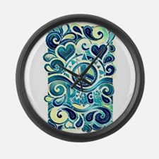 Colorful Hippie Art Large Wall Clock