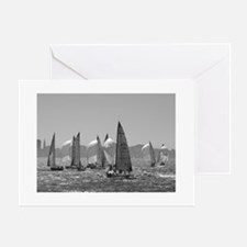 black + white sailing photos Greeting Cards (6) Gr