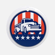 Vintage Pick Up Truck USA Flag Circle Retro Round
