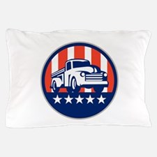 Vintage Pick Up Truck USA Flag Circle Retro Pillow