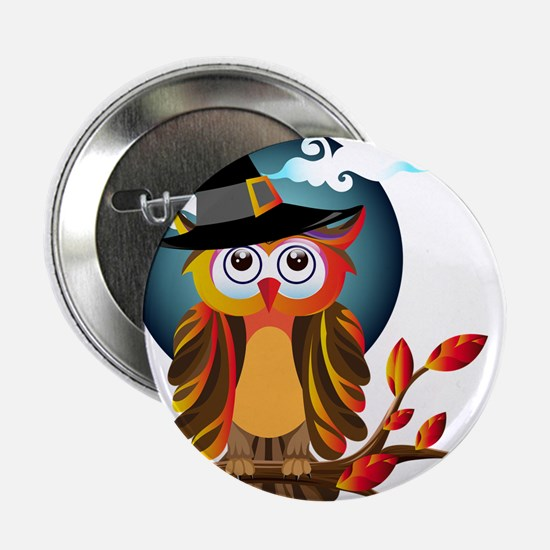 """Halloween Witch Owl 2.25"""" Button (10 pack)"""