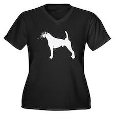 Fox Terrier Women's Plus Size V-Neck Dark T-Shirt