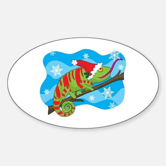 Christmas Chameleon Oval Decal