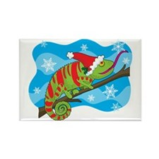 Christmas Chameleon Rectangle Magnet