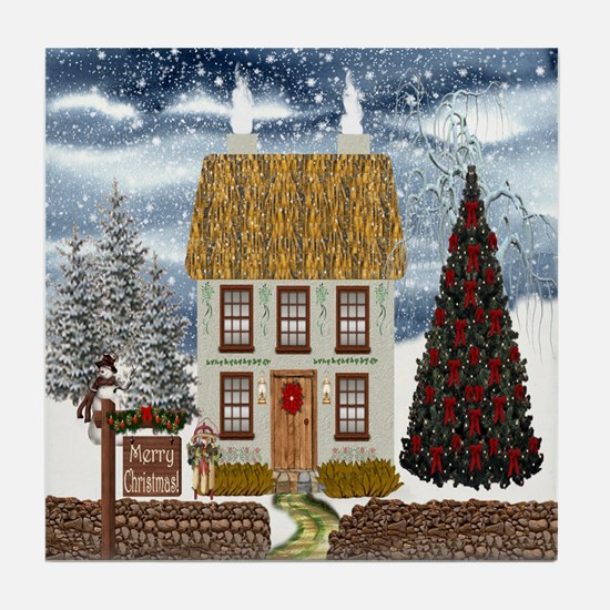 Merry Christmas Cottage Tile Coaster