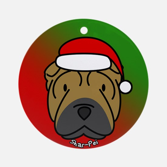 Cartoon Shar Pei Christmas Ornament