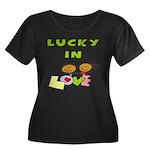 Lucky in Love Women's Plus Size Scoop Neck Dark T-