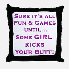 Girls Kick Butt Throw Pillow