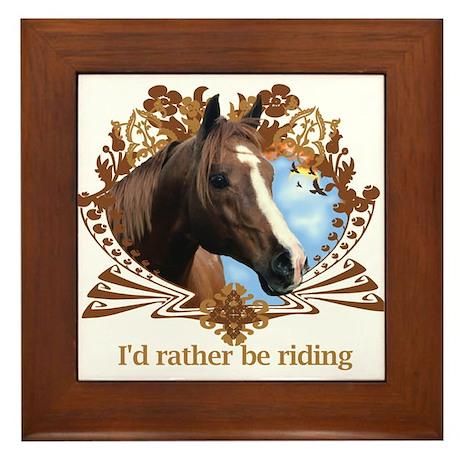 Rather Be Riding Horse Crest Framed Tile