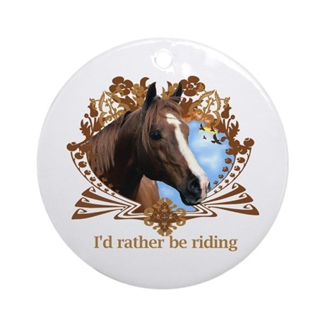 Rather Be Riding Horse Crest Ornament (Round)