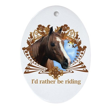 Rather Be Riding Horse Crest Oval Ornament