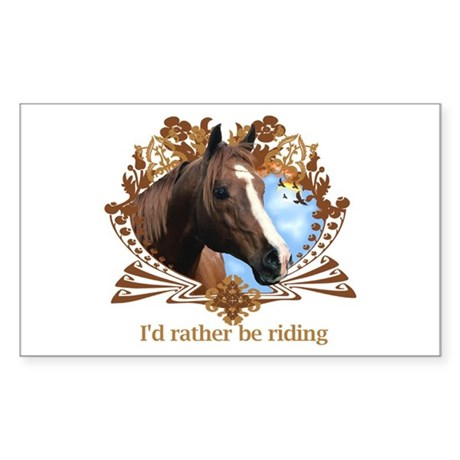 Rather Be Riding Horse Crest Rectangle Sticker