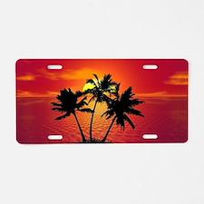 Cute Tropical sunset Aluminum License Plate