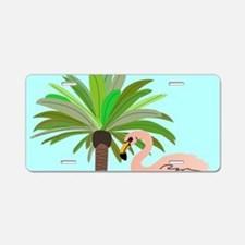 Flamingo And Palm Tree Aluminum License Plate