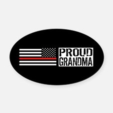 Firefighter: Proud Grandma (Black Oval Car Magnet
