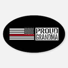 Firefighter: Proud Grandma (Black F Sticker (Oval)