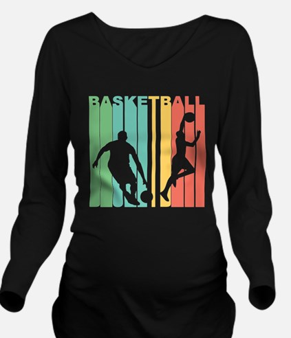 Retro Basketball Long Sleeve Maternity T-Shirt