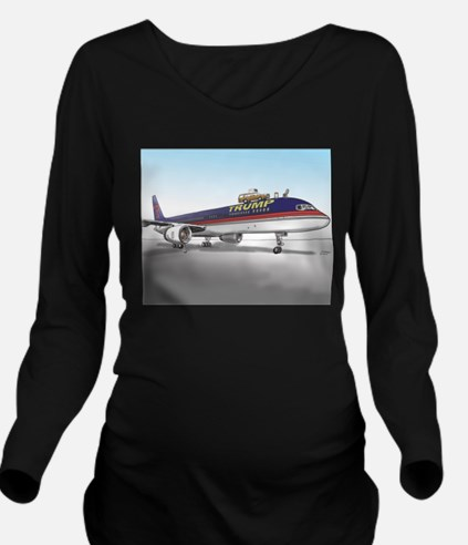 Trump Plane Long Sleeve Maternity T-Shirt