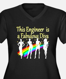 ENGINEER DIV Women's Plus Size V-Neck Dark T-Shirt