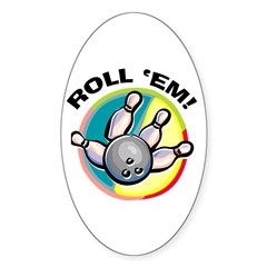 Roll 'Em Bowling Oval Decal