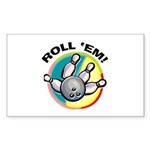 Roll 'Em Bowling Rectangle Sticker