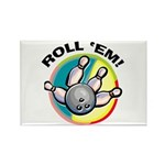 Roll 'Em Bowling Rectangle Magnet (10 pack)