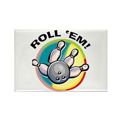 Roll 'Em Bowling Rectangle Magnet (10 pack)