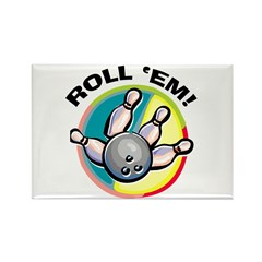 Roll 'Em Bowling Rectangle Magnet (100 pack)