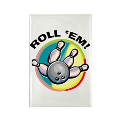 Roll 'Em Bowling Rectangle Magnet