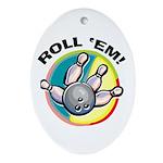 Roll 'Em Bowling Oval Ornament