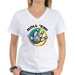 Roll 'Em Bowling Women's V-Neck T-Shirt
